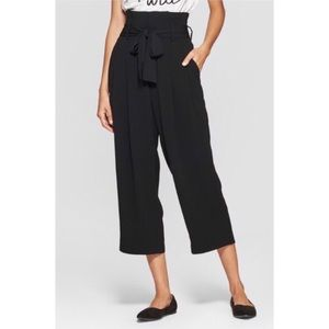 Belted High Waisted  Paperbag Trouser Pants